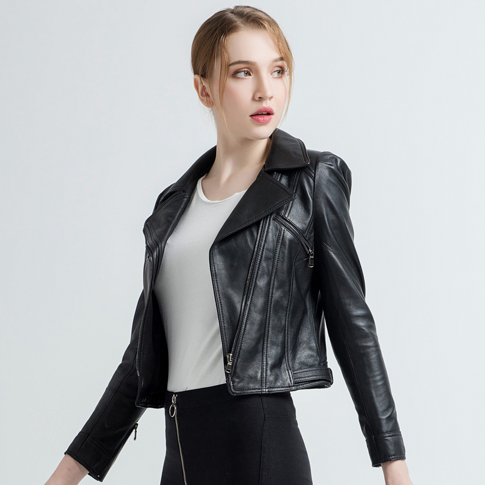 Gours Women's Genuine Leather Jackets Female Fashion Short Motorcycle Jacket Black Classic Punk Style Ladies Sheepskin Coat 1817