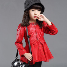 2016 Autumn Winter GirlsJackets And Coats Girls PU Leather Coat Beading Mesh Patchwork  Baby Jackets For Girl Children Clothing