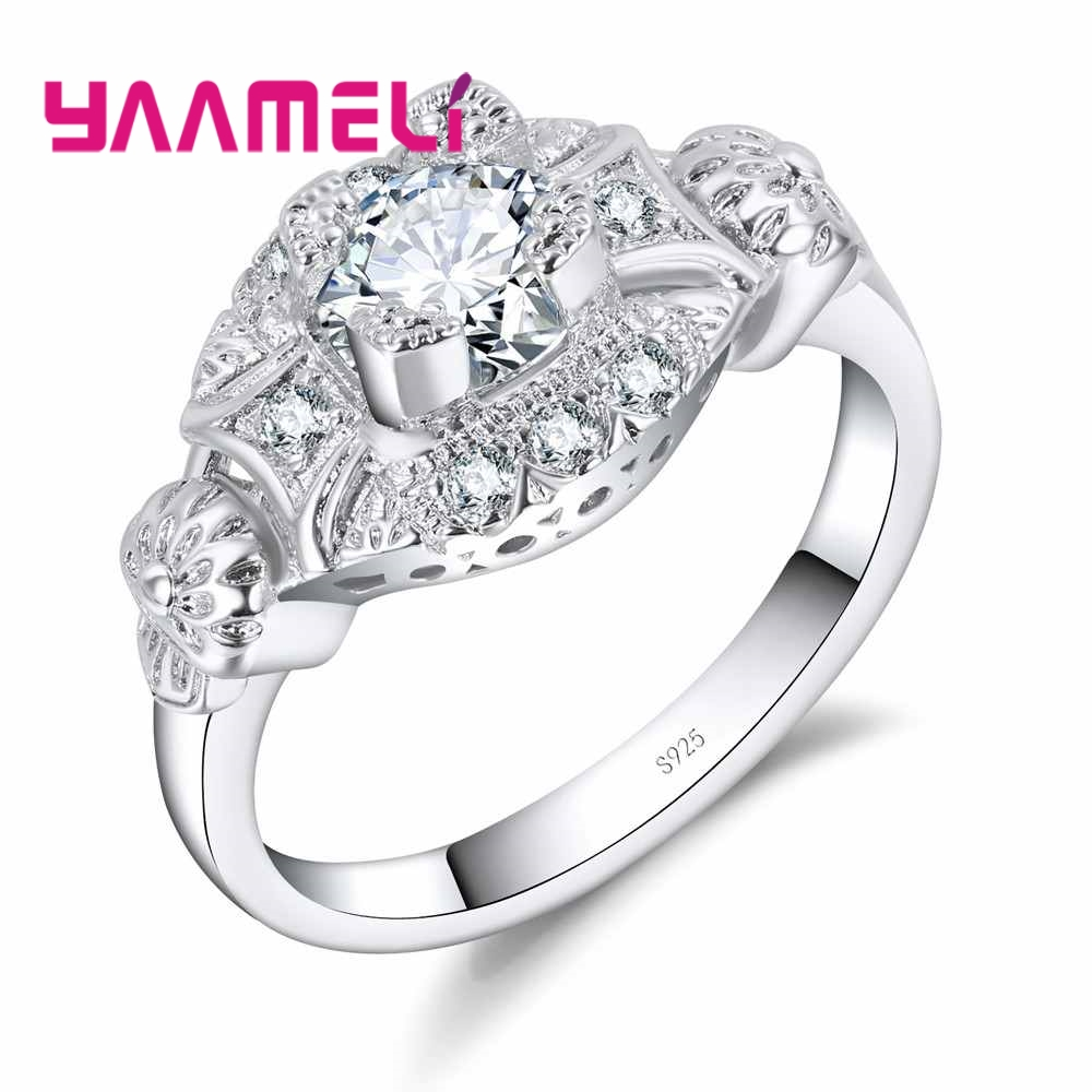 Dependable Yaameli Hottest Sale 925 Sterling Silver Rings Cubic Zircon Crystal Women Wedding Engagement Finger Accessories For Brides Rings