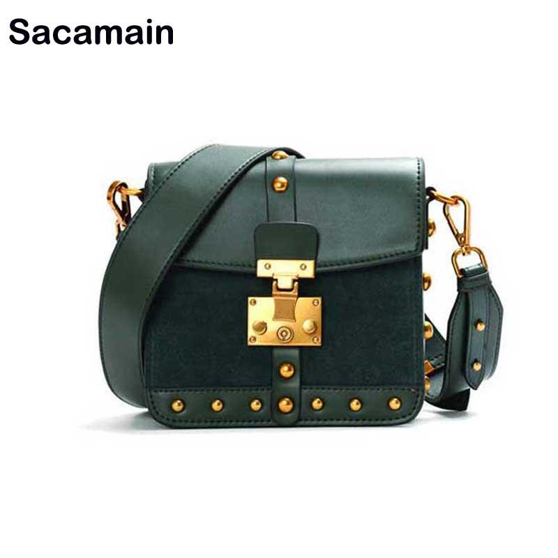 Sacamain Brand Newest Woman Bag 2018 With Wide Strap Designer Luxury Crossbody Women Bag Real Price Sude Leather Bolsa Feminina