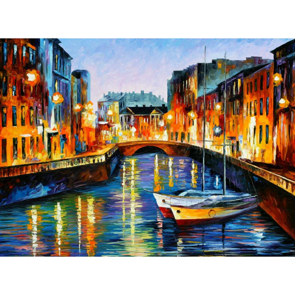 Modern oil painting on canvas evening river st. petersburg handmade landscape palette knife art wall home decor