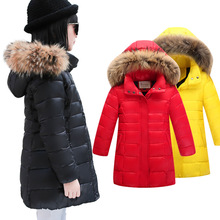2016 New Winter Girls Down Long Section Coats Children Hooded Thick Warm Jackets Kids Girl Fur Collar Fashion Outwear 4-13 Y
