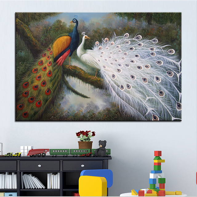 Us 9 39 6 Off Wall Art Wall Decor Wall Painting Peacock Feathers Digital Oil Painting Print Nice Painting For Wall Picture No Frame In Painting