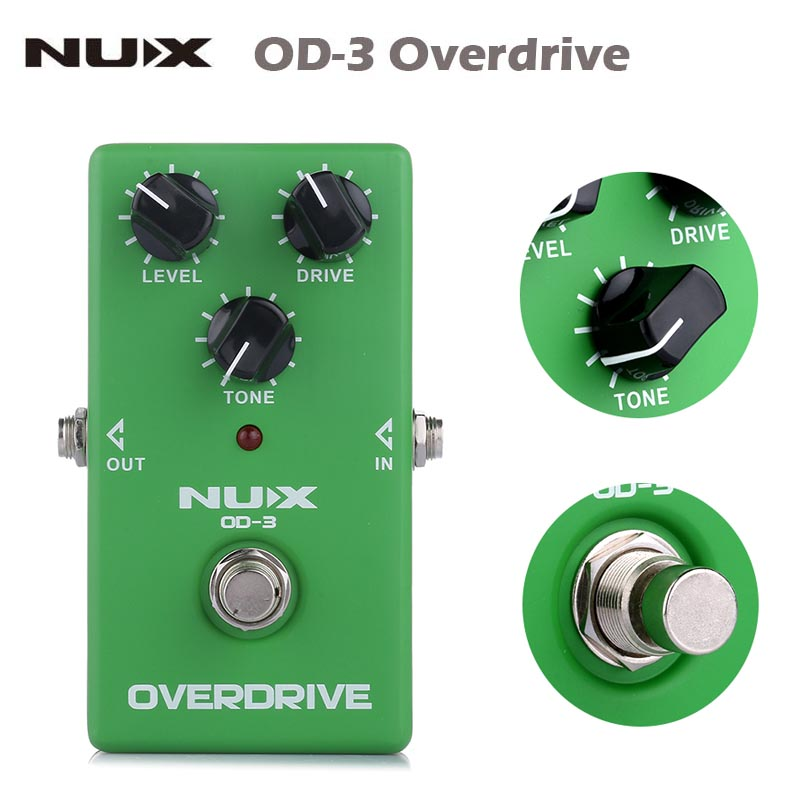 NUX OD-3 Overdrive Electric Guitar Effect Pedal Ture Bypass Green guitarra Effect Pedal High Quality Guitar parts&Accessories nux mg 20 electric guitar multi effects pedal guitarra modeling processor with drum machine eu plug