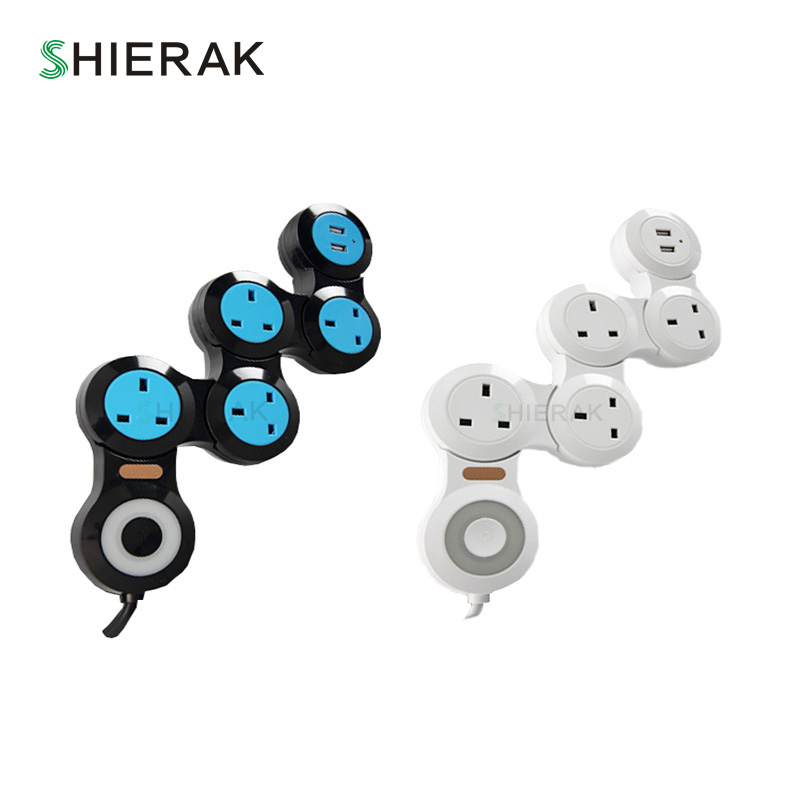 цена на SHIERAK New Arrival Deformable Socket With USB UK Standard 345-Position Power Strip Outlet With 2 USB Ports Kitchen Plug Sockets