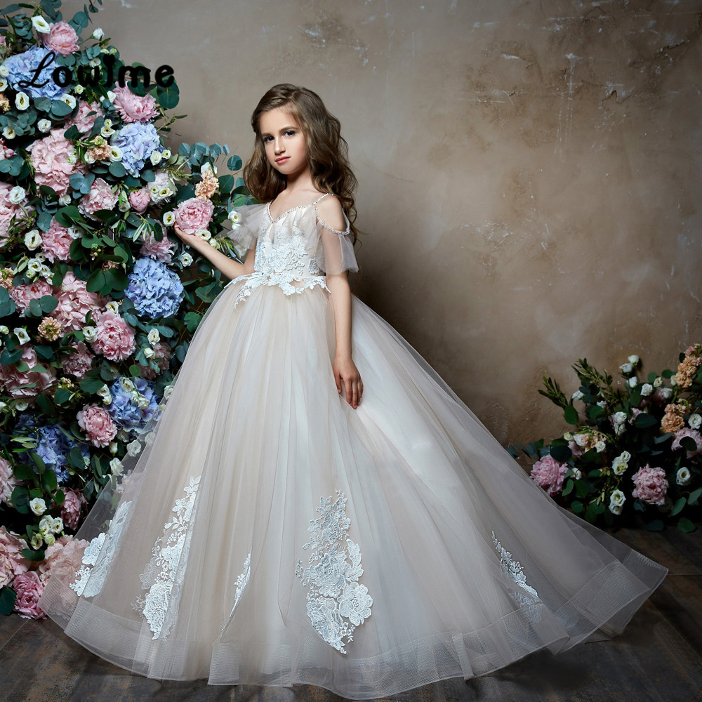 Ball Gown   Flower     Girl     Dresses   Pageant   Dresses   For   Girls   Cheap First Communion   Dresses   Vestidos Daminha Beaded Pearls Party Gown