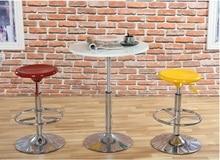 coffee house hotel Bar stool European and American popular plastic stool black blue yellow orange color free shipping
