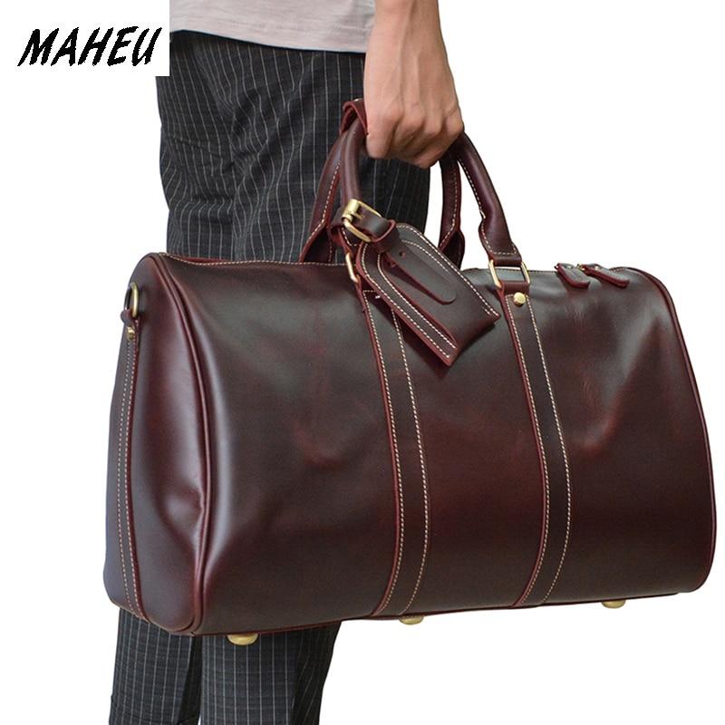 Women genuine leather travel bag 18 real leather Weekend Bag Lady Red Glossy real Leather Travel Luggage shoulder bag tote bag