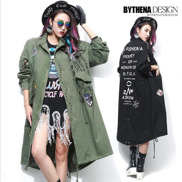 Plus size 2017 autumn women's Thai fashion brand letters pattern 3D beading loose coat female loose trench w1528 free shipping
