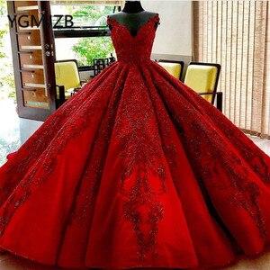 Image 4 - Vestido De novia rojo De lujo 2020, vestido De baile con escote en V, cristales, encaje con aplicaciones De Cuentas, Arabia, novia, vestido De boda