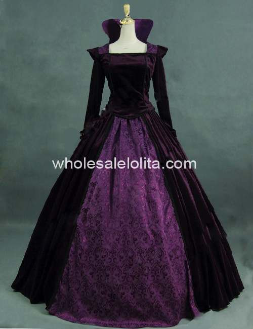 Роскошный Фиолетовый Бархат и Brocade Воссоздание Период Королева Collared Dress Бальное платье Театр Костюма
