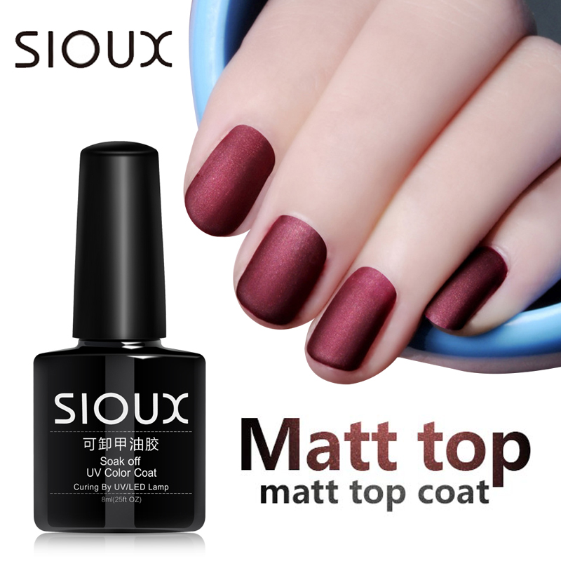 SIOUX 8ML Matte Top Coat Matte UV Gel Nagellak UV Vernis Primer Laag Vernis Matte Polish Kleur Lucky Gel Lak Basis Top Verf