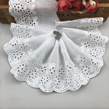 5 Yards/Lot Width 8cm High Quality White Cotton Lace Ribbon DIY Trim Wedding Ribbons For Crafts Trimmings Sewing CR01