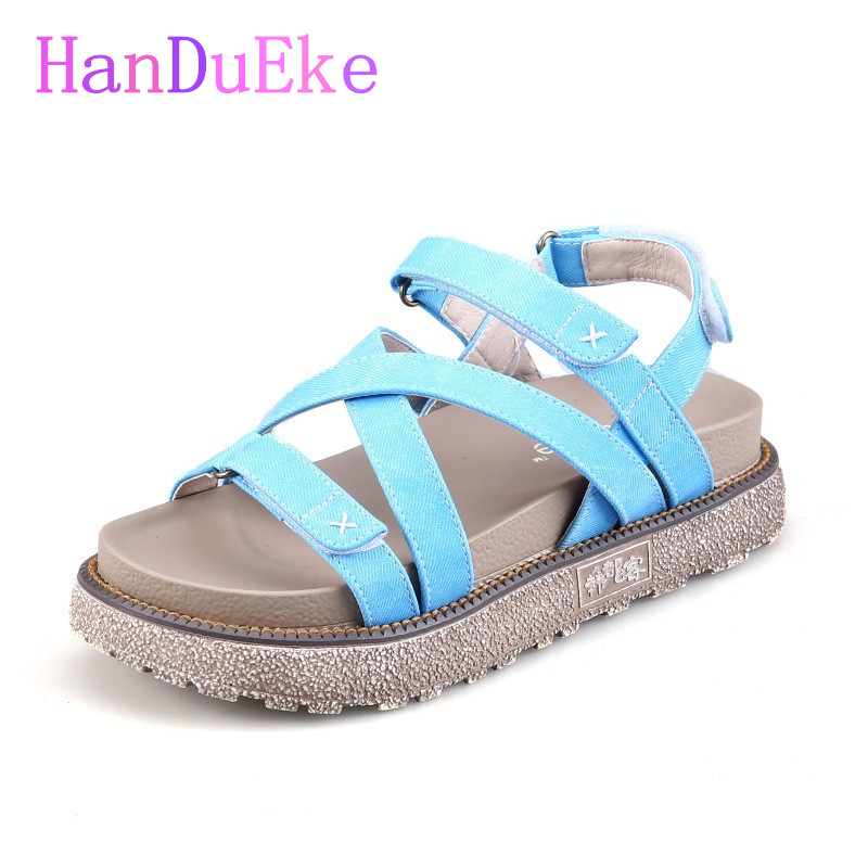 HanDuEKe New 2017 Summer Fashion Gladiator Sandals Women Cross Tied Girls Wedges Platform Sandals Casual Beach Shoes Woman phyanic 2017 gladiator sandals gold silver shoes woman summer platform wedges glitters creepers casual women shoes phy3323