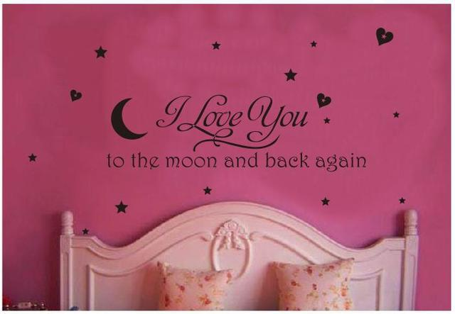 I love you to the moon and back again letter wall decor romantic wall stickers stars