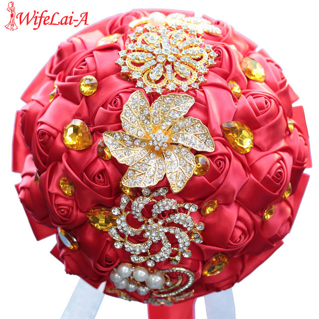 DIY Handmade Brooch Bridal Holding Artificial flowers Crystal Wedding Bouquet Silk Bridesmaid Bouquets Gold Jewelry Bouquet W227