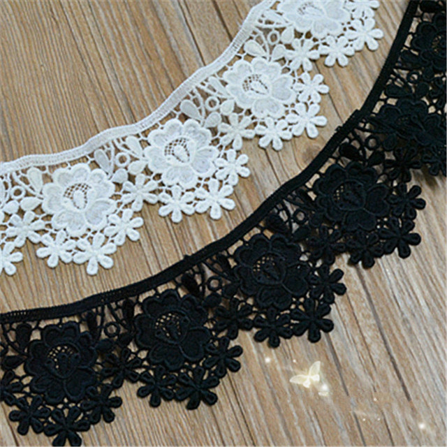 5 Yard/Lot Black white Milk silk lace trim embroidery lace fabric garment  curtains sofa