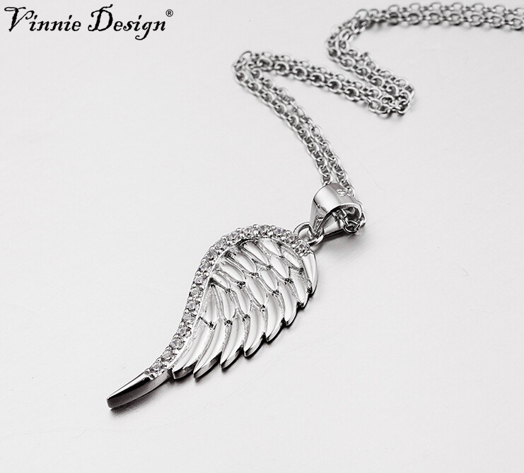 925 sterling silver Single Angel Wing necklace feather gift pendant charm