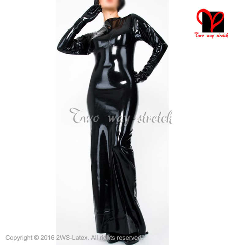 d57de9fe2b6 Sexy Black long sleeves Latex Gown With Zip At Back Rubber Dress Playsuit  Bodycon Uniform XXXL