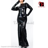 Sexy Czarne długie rękawy Lateksowe Suknia Z Zamkiem Na Plecach Gumy Sukienka Playsuit Bodycon Jednolite XXXL rozmiar QZ-115