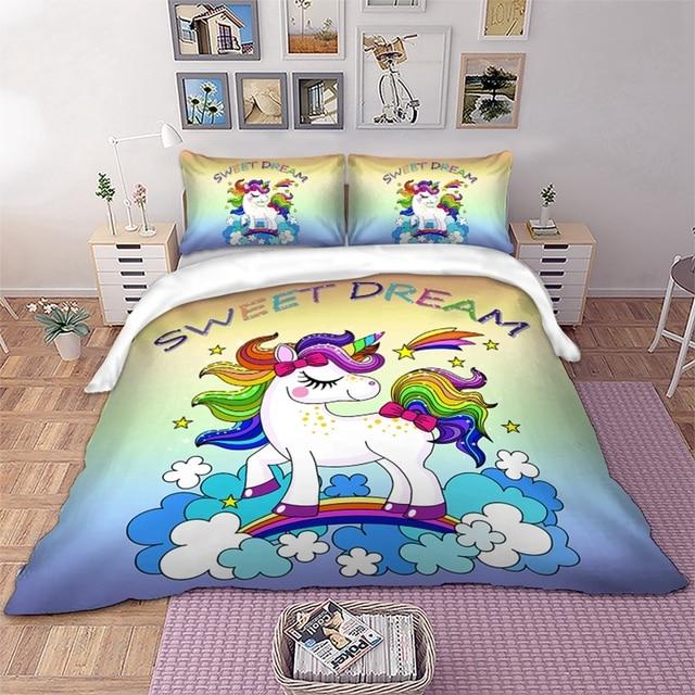21e4d3b5e340 Rainbow Unicorn Bedding Set Cartoon Single Bed Duvet Cover Sweet Dream for  Kids Girls 3pcs Colorful Bedclothes