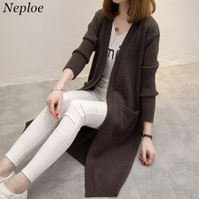 Neploe Long Sweater Coat Knitwear Cardigan 2017 Spring Autumn New Women Tops Loose Wild Long Sleeve Cardigan 65470(China)