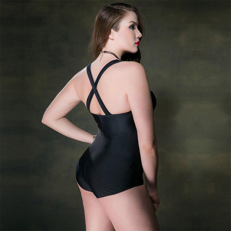 2018 New Plus Size Women Swimsuit Solid Color One Piece Suit 3XL 5XL Big Size Bathing Suit Brazlian Monokini Girl Swim Bodysuit in Body Suits from Sports Entertainment