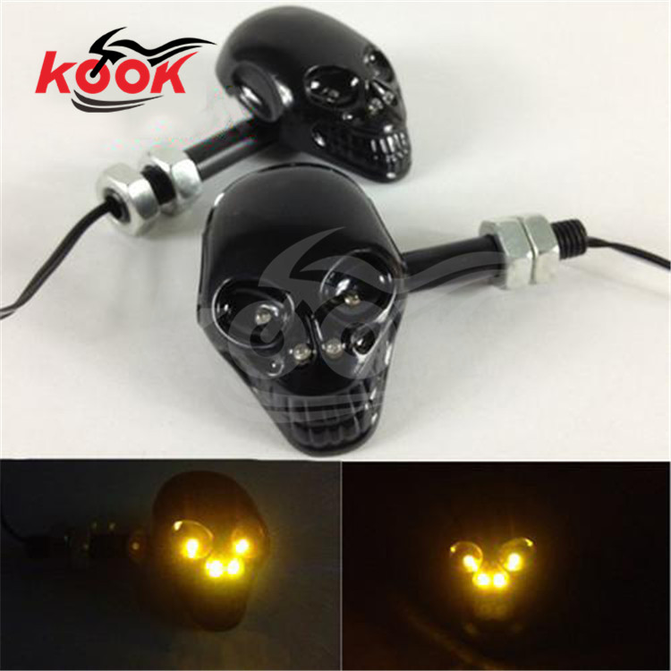 black skull motocross indicator pit bike blinker parts skeleton head motorbike turn signal light moto flashers motorcycle LED