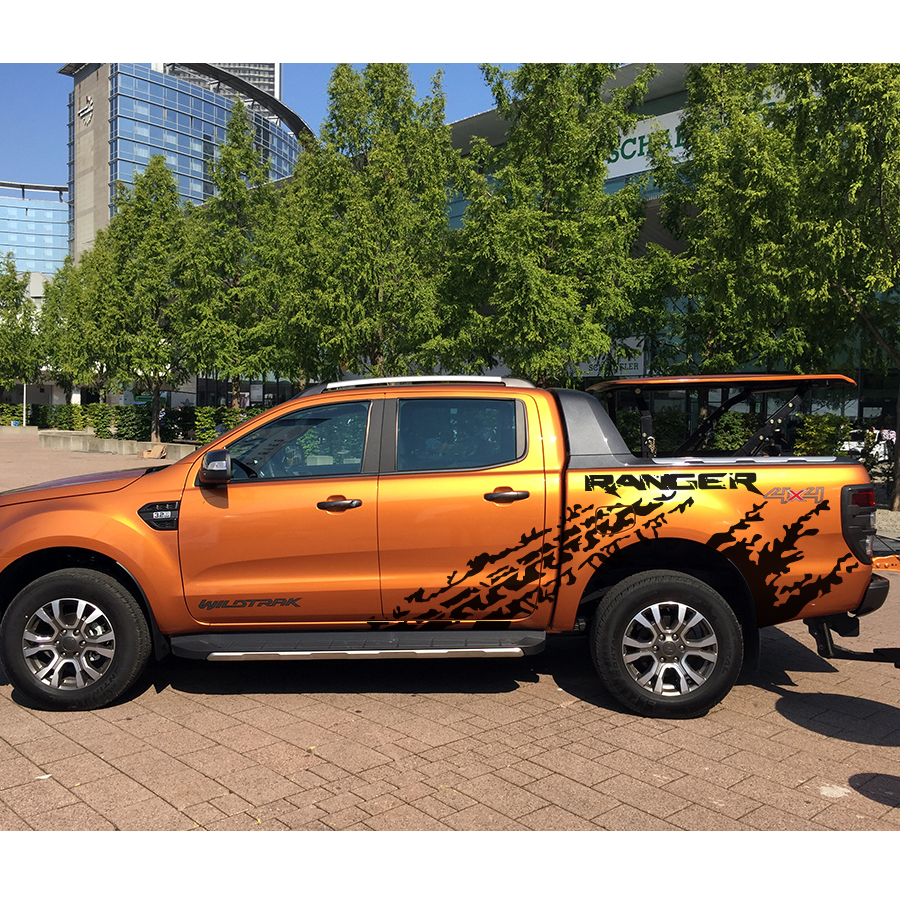 mudslinger tire marks with ranger body rear tail side graphic vinyl car sticker for ranger 2012 2017 in Car Stickers from Automobiles Motorcycles