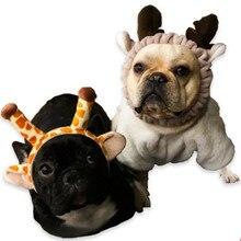 b2558f788f9 Pet Jewelry Hat Creative Personality Imitating Giraffe Funny Dog French  Bulldog Headdress Cat Turning Head Cover