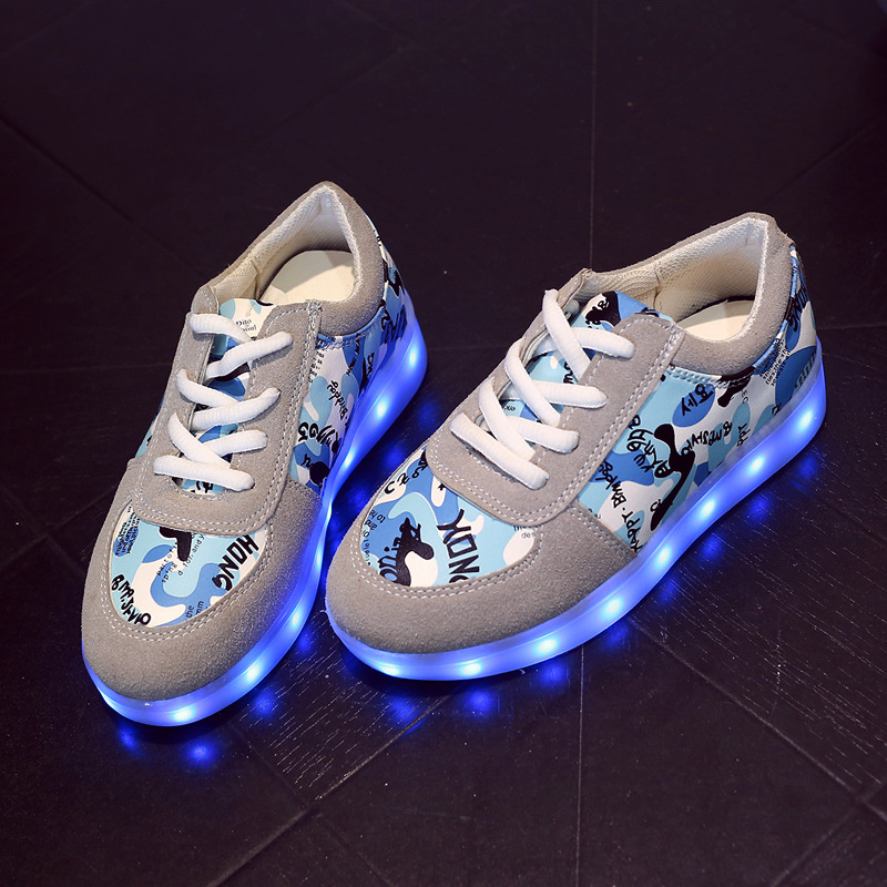 New 2017 Children LED Light Shoes Boys Girls Breathable USB Charging Luminous Shoes Kids Casual Glowing Fashion Sneakers little boys girls led light wings shoes for children fashion kids usb charging luminous sneakers glowing shoes