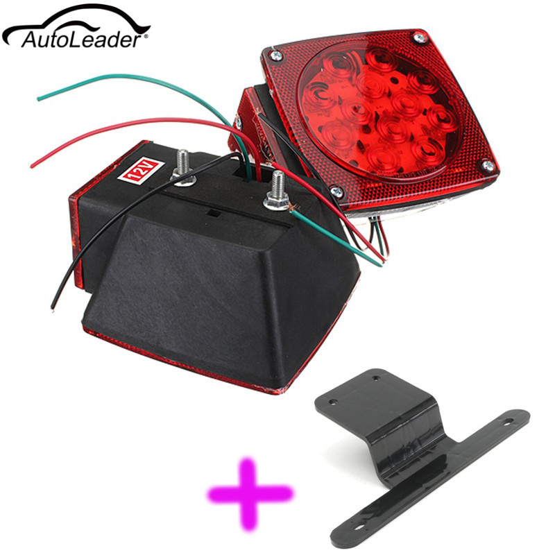 Car Truck Stop Turn Tail Marker Trailer LED Light Bracket Kit Black+PairTruck Trailer under 80