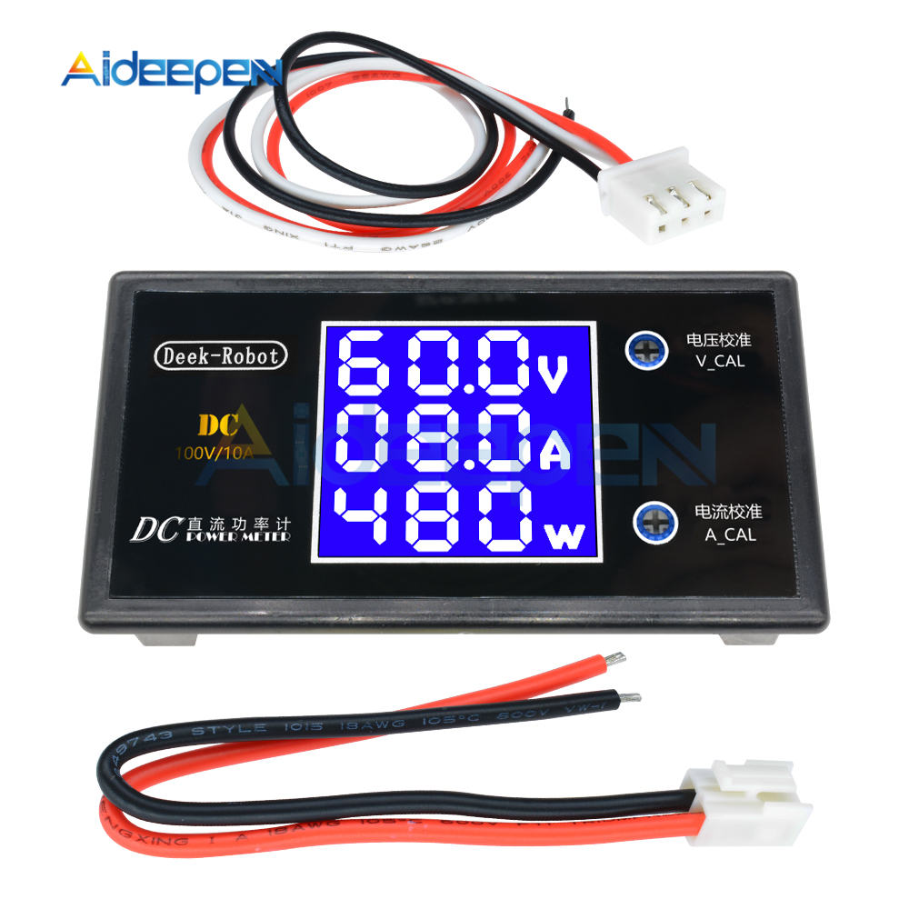 DC 0-100V 0-50V 5A 10A LCD Digital Voltmeter Ammeter Wattmeter Voltage Current Power Meter Volt Detector Tester 250W 1000W