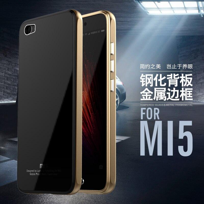 Pour Xiaomi Mi5 Cas Marque Luphie Aluminium De Luxe Metal Frame + Trempé Verre De Protection Couverture Arrière pour Xiaomi Mi5 M5/Mi5/Mi 5
