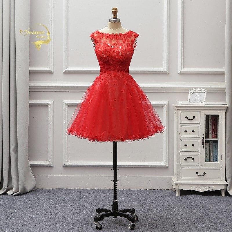 2019 rouge Mariage court femmes robes De soirée une ligne Robe Cocktail robes genou longueur Vestido De Festa Curto Robe De soirée JO45