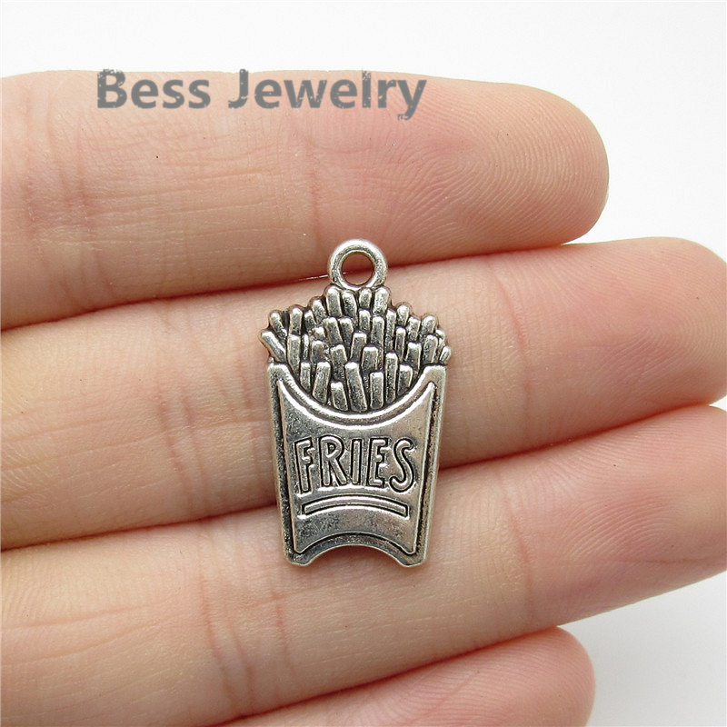 35pcs(25*15mm) Antique Silver French fries Charms fit for pandora style Bracelets DIY Metal Jewelry Findings