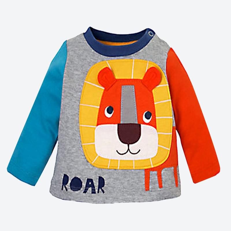 490f6e508fe2 Printemps Automne Bébé Garçons t-shirt À Manches Longues Casual Coton  enfants T-shirt Doux Applique Broderie lion Enfants Tops T-shirts 1-6 année