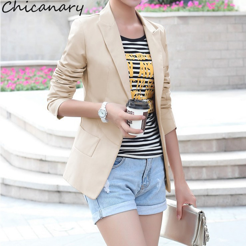 Chicanary Women Blazer Autumn Slim Coat Casual Jackets Long Sleeve Black White One Button Suit Outerwear