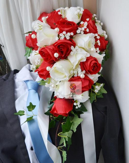 Red White Artificial Waterfall Droplets Wedding Bouquets For Brides Blue Roses Flowers Pearl Bridal Brooch Bouquets De Mariage