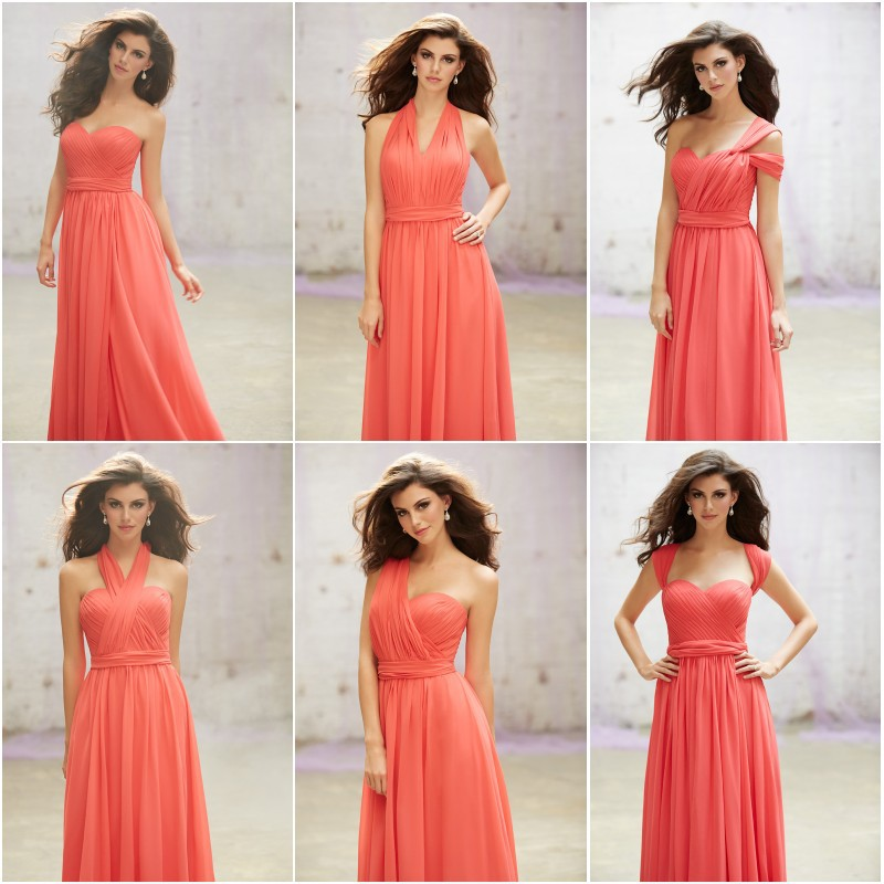 Low price custom made coral colored chiffon full length for Coral colored wedding dresses