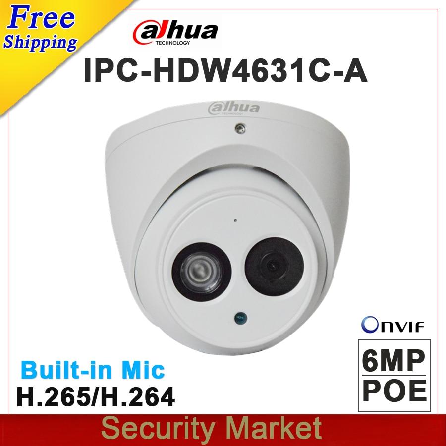 Original dahua 6MP POE Dome network Camera IPC HDW4631C A replace IPC HDW4431C A CCTV IP