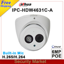 Originele dahua 6MP POE Dome network Camera IPC-HDW4631C-A vervangen IPC-HDW4431C-A CCTV IP camera met IR 50 m ondersteuning Buit- in Mic(China)