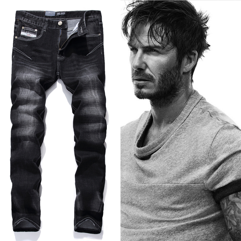 Black Printed Jeans Men Fashion Designer Logo Brand Jeans Trousers High quality Mens Jeans Slim Straight Denim Jeans Man F702 2017 fashion patch jeans men slim straight denim jeans ripped trousers new famous brand biker jeans logo mens zipper jeans 604