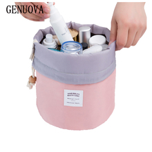 hot deal buy creative barrel shaped travel cosmetic make up bag drawstring shrink wash kit bags toiletry organizer storage beauty magic pouch