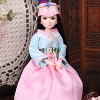 Fortune Days 1/6 Xiaojing doll new ethnic style Korea 18 joint body with makeup 25cm high quality exquisite doll gift toy.