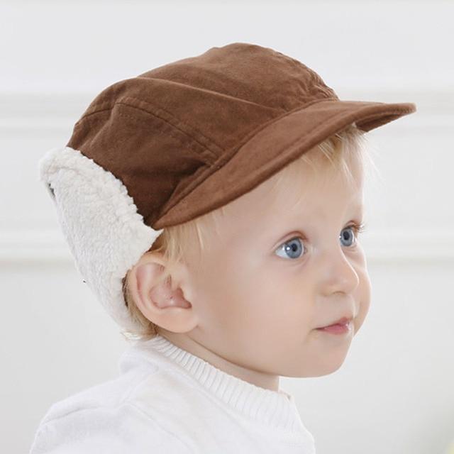 Winter Fall Infant Boys Earlap Hat Cap Warm Lined Toddler Boys Winter Hat  Baseball Caps 7ddf2bd0948