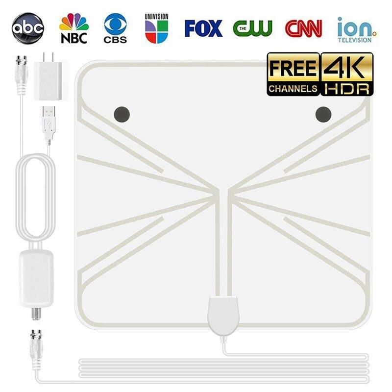 SOONHUA 4 Karat HD Innen Kostenlose Digitale Tv-antenne Mit Weiß Antennen Verstärker HDTV Antena Satellitenempfänger Für VHF UHF DVB-T2
