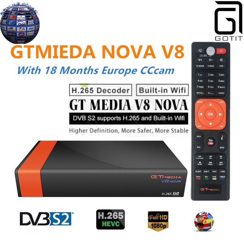 GT Media V8 Nova DVB S2 Freesat Satellite Receiver H 265 built in WIFI 18 Months