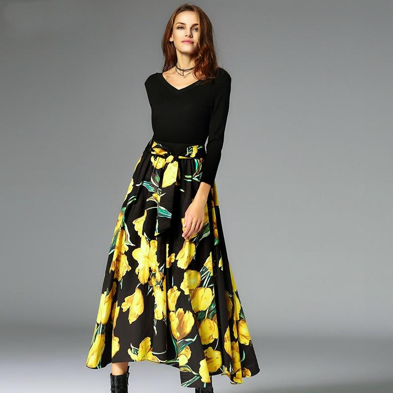 Jupe 2017 Mode Casual A Nouvelle ligne Haute Piste Jupes Femmes Arc mollet Dames Été Mince Imprimer Printemps Flora Mi Élégante Taille Noir pxdqffFPw