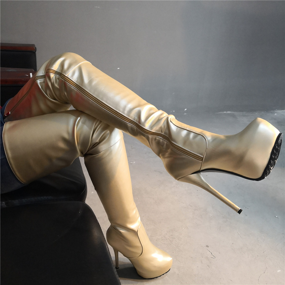 SARAIRIS Brand New Plus Size 47 Sexy Womens Shoes Woman 2019 Party Gold Super High Heels Quality Over The Knee BootsSARAIRIS Brand New Plus Size 47 Sexy Womens Shoes Woman 2019 Party Gold Super High Heels Quality Over The Knee Boots